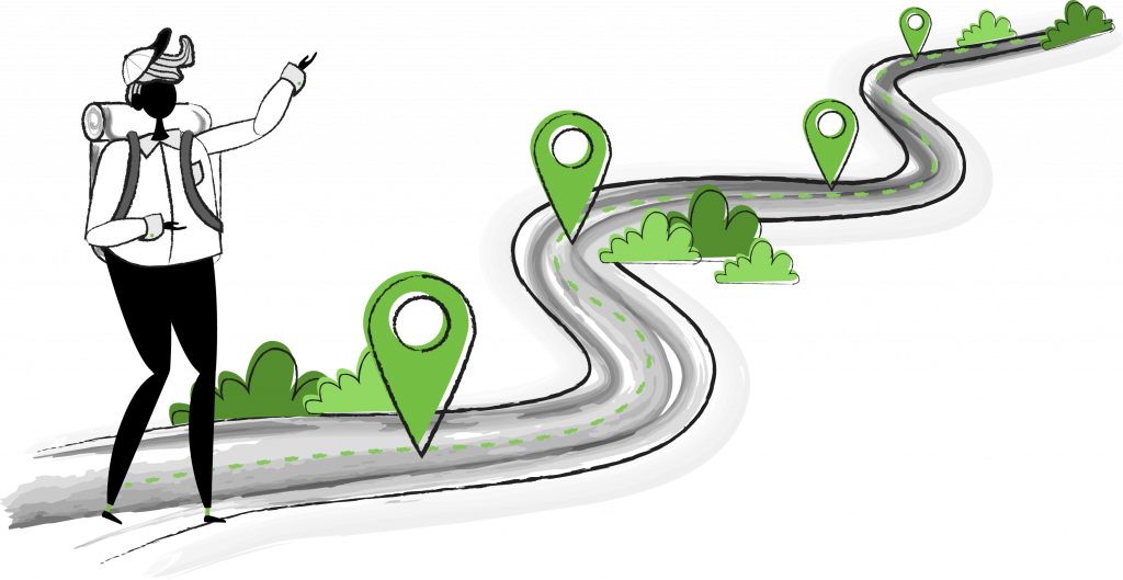 Roadmap with multiple location markers along the way